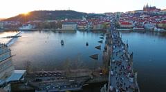 Charles Bridge (Karluv Most) Prague, Czech Republic, November, 2015 Stock Footage