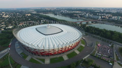 Aerial view of National Stadium and Kartingowy Narodowy, Warsaw Stock Footage
