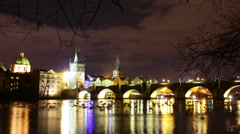 4k UHD timelapse at night with the castle and charles bridge in Prague. - stock footage