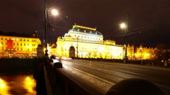 Prague. Night traffic. View of the National Theatre. 4K. - stock footage