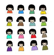 Cute cartoon people man and woman in Jaidee Family Style - stock illustration