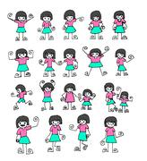 Cute cartoon people man and woman in Jaidee Family Style Stock Illustration