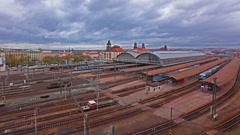 4k timelapse over prague train station traffic, November 2015 Stock Footage
