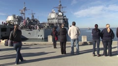 USA Virgina Norfolk, November 2015, Civilian Stand At Harbour Looking Back Of Stock Footage
