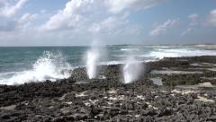 Cozumel Mexico blow holes rocky beach shore Caribbean 4K Stock Footage