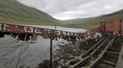 ICELAND Mjoifjoerdur boat wreck Schiff Wrack Stock Footage