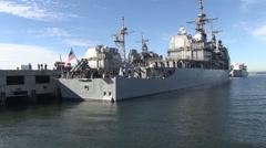 USA Virgina Norfolk, November 2015, Long Shot Rear USS Anizo At Harbour - stock footage