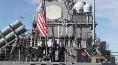 USA Virgina Norfolk, November 2015, Medium Shot Back USS Anzio Soldiers - stock footage