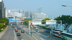 Typical traffic on a major highway in Metropolitan Hong Kong. Stock Footage