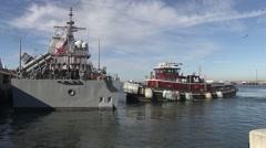 USA Virgina Norfolk, November 2015, Back OF USS Anzio Tugboat - stock footage