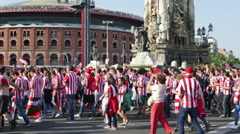 Football Fans of Athletic Bilbao Club  before the final game Stock Footage