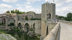 Medieval town with gate on bridge. Stock Footage