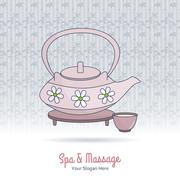 Stock Illustration of Hand drawn Thai massage and spa design elements.
