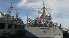 USA Virgina Norfolk, November 2015, Back OF USS Anzio Lies Harbour Crew solve - stock footage