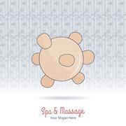 Wooden tool for Thai massage. - stock illustration