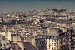 France, Paris, Cityscape with Basilique Du Sacre Coeur Stock Photos