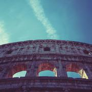 Italy, Rome, Coliseum outside facade ruins Stock Photos