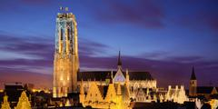 Belgium, Mechelen, Blue Hour at St Rumbold's Cathedral Stock Photos
