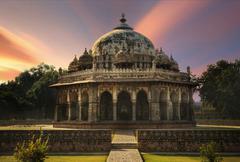 India, Delhi, Isa Khan Niyazi's Tomb - stock photo