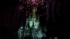 Disney Castle Holiday Fireworks Stock Footage