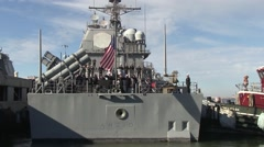 USA Virgina Norfolk, November 2015, Back Of USS Anzio Soldiers Solve Rope - stock footage