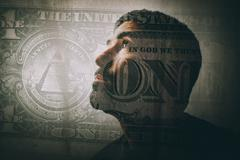 Double exposure of a man looking up and a one dollar bill Stock Photos