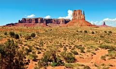 USA, Arizona, Utah, Navajo Indian Reservation, Monument Valley's Sentinel Butte, Stock Photos
