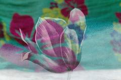 Colorful background of colored scarf with a rose pattern, art, abstraction, f Stock Photos