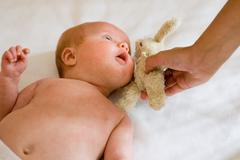 Mother with baby  boy and cuddly toy Stock Photos