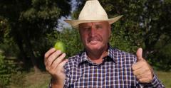 Happy Countryman Present Exotic Fruit Tropical Green Lime Thumbs Up Hand Sign Stock Footage