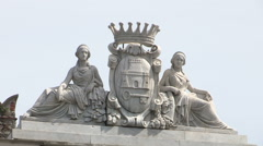 Sculpture of the symbol of the town of Chiavari on the roof of the town hall Stock Footage