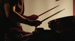 Drummer Drumming in Slow Motion on Strobe Lighting Background Stock Footage