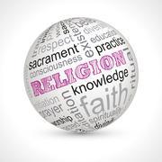 Religion theme sphere with keywords - stock illustration