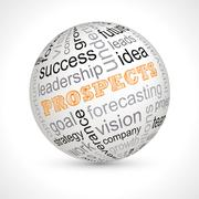 Prospects theme sphere with keywords Stock Illustration