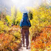 Hike in autumn season - stock photo