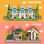Street with townhouses and country houses. Set of elements for the construction - stock illustration