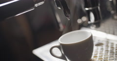 Rinsing coffee machine before making coffee Stock Footage