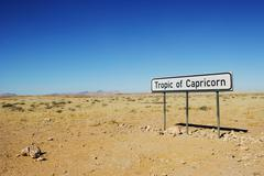 Tropic of Capricorn sign, Namibia - stock photo