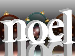 Noel background with baubles - stock illustration