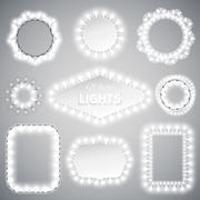 White Christmas Lights Frames - stock illustration