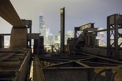 Chicago Skyline from Chinatown Bridge, Illinois, USA Stock Photos
