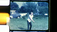 Young Man Swings BASEBALL Bat Practice Kid 1960s Vintage Film Home Movie 8644 Arkistovideo