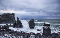Beach in winter at the South-West end of the Reykjanes Peninsula, Iceland Stock Photos