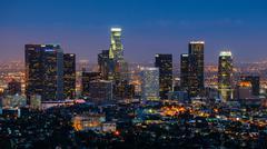 Los Angeles at night, California, USA Stock Photos