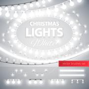 White Christmas Lights Decoration Set - stock illustration