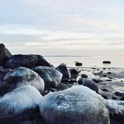 Ice covered rocks at the beach, Ringshaug, Tonsberg, Norway - stock photo
