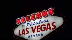 Welcome to Las Vegas Sign Boulevard Strip Roadside Attraction - stock footage