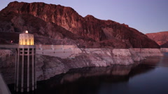 The Snake River Flows Hoover Dam Dusk Sunset Arizona Nevada Stock Footage