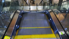 Airport Escalator Pedestrian Transportation Steel Moving Steps Stock Footage