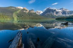 Emerald Lake Reflections, Yoho National Park, Canadian Rockies, Canada Stock Photos
